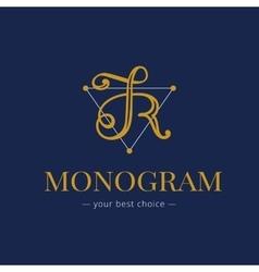 elegant hand lettered R letter monogram vector image vector image