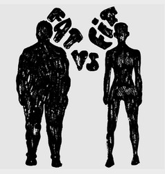 fat vs fit woman silhouette a slim and fat vector image