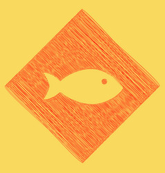 Fish sign red scribble icon vector
