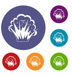 Flame and smoke icons set vector