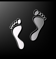 Foot prints sign gray 3d printed icon on vector