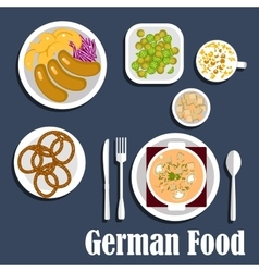 German cuisine soup salads and snacks vector