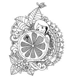 Girl holding lemon in the vector