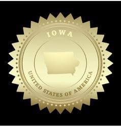 Gold star label iowa vector