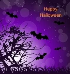 Halloween Night Background with Bats vector image vector image