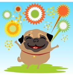 Happy dog with fireworks on the nature vector