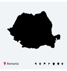 High detailed map of romania with navigation pins vector