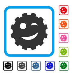 Joke smiley gear framed icon vector