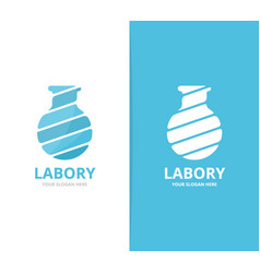 lab bottle logo combination bulb and vector image vector image