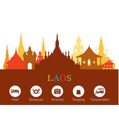 laos landmarks skyline with accommodation icons vector image vector image