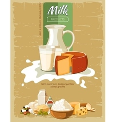 Milk products vintage poster vector image vector image