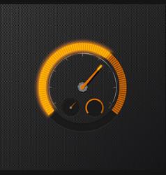 Orange speedometer on carbon background vector