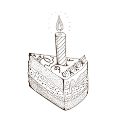 Piece of holiday cake with candle vector