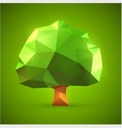 polygonal origami tree vector image vector image
