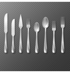 Realistic cutlery set silver or steel fork vector