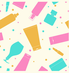 Seamless pattern of containers for cosmetics vector
