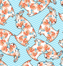 Seamless pattern with flower goat vector image vector image