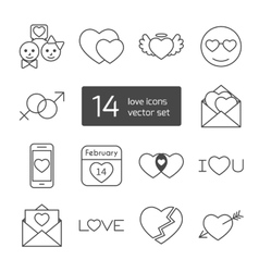Set of isolated love thin lined outlined icons vector image vector image
