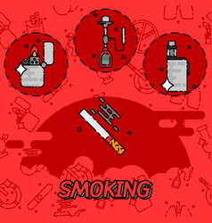 Smoking flat concept icons vector
