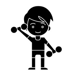 sport man - boy with weights - kid workout icon vector image