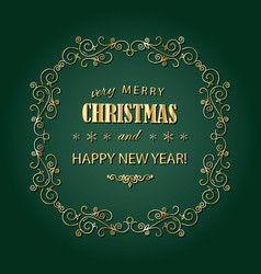 Vintage christmas golden frame merry christmas vector