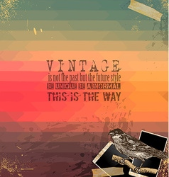 Vintage Scrapbook with hipster background vector image vector image