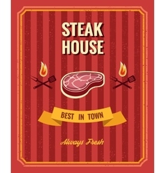 Vintage steak poster template vector image