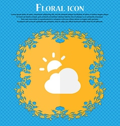 Weather floral flat design on a blue abstract vector