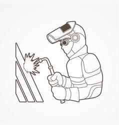 welder working a man welding steel industry vector image vector image