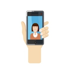 Womanl taking selfie photo on smartphone icon vector