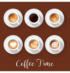 Coffee cups with americano latte espresso vector