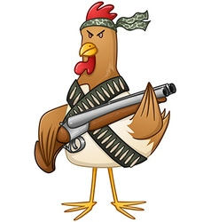 Chicken fighter with a shotgun vector