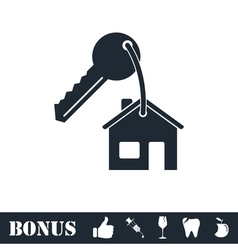 House key icon flat vector