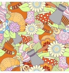 Breakfast theme Seamless pattern with coffee vector image