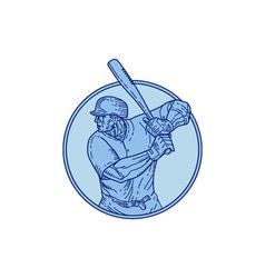 Baseball player batter batting circle mono line vector