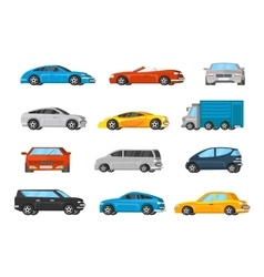Colorful vehicles collection vector