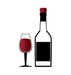 Glass cup with wine and empty bottle vector