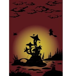 Halloween landscape with Castle - mushroom vector image