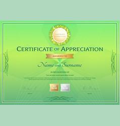 Certificate of appreciation template in green vector