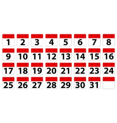 Calender dates vector image