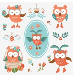 Cute easter olws collection vector