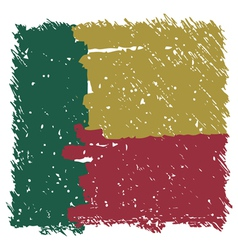 Flag of benin handmade square shape vector