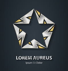 Gold and silver star logo made of lightnings award vector