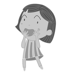 Little girl covering mouth with both hands vector