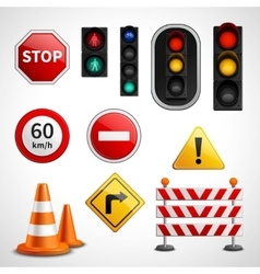 Traffic signs and lights pictograms collection vector