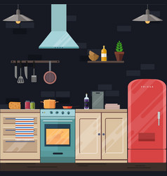 Flat kitchen vector