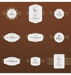 Eid mubarak paper emblems set vector