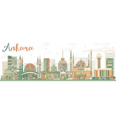 Abstract ankara skyline with color buildings vector