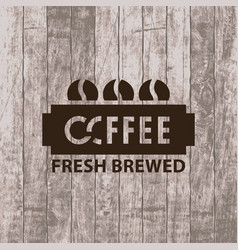 banner with coffee grains on wooden background vector image vector image