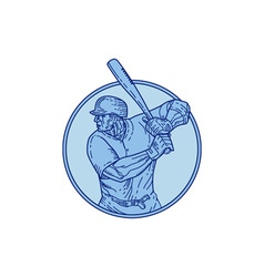 Baseball Player Batter Batting Circle Mono Line vector image vector image